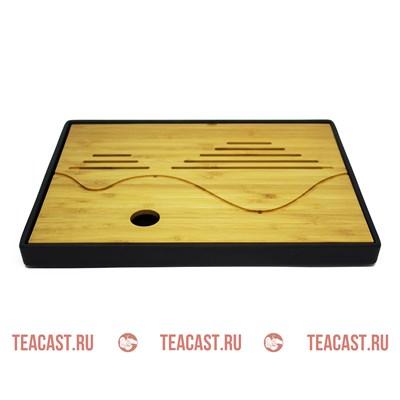 Чабань прямоугольная бамбук с пластиковым поддоном #290026 - фото 5449
