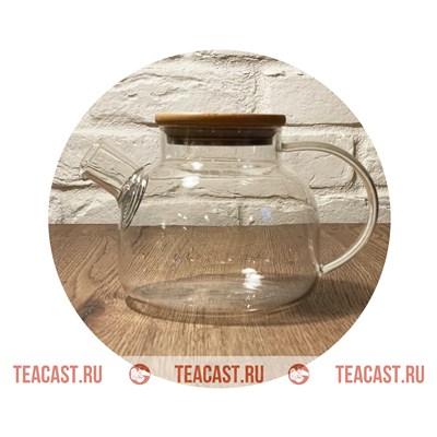 Чайник из огнеупорного стекла с деревянной крышкой #220004 - фото 6554