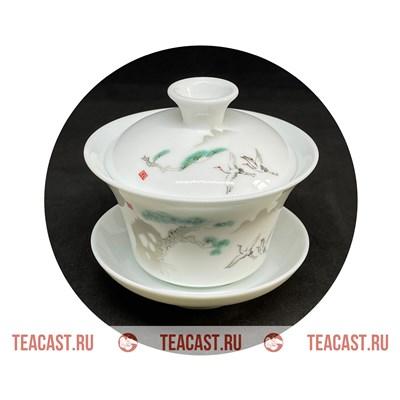 """Гайвань из фарфора с рисунком """"Журавли"""" #150026 - фото 6607"""