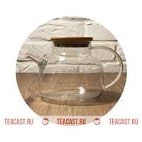 Чайник из огнеупорного стекла с деревянной крышкой #220004
