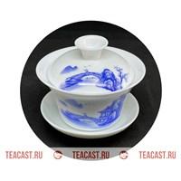 """Гайвань из фарфора белая с рисунком """"Пейзаж"""" #150025"""