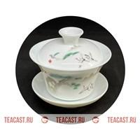 """Гайвань из фарфора с рисунком """"Журавли"""" #150026"""