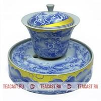 Гайвань из фарфора с чайным прудом в комплекте #150027